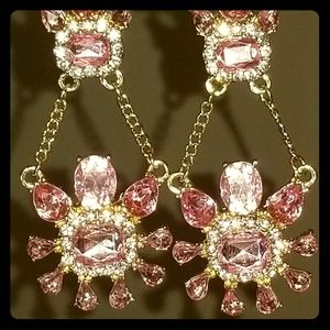 BRILLIANT Pink & White Gold-Tone Dangle Earrings